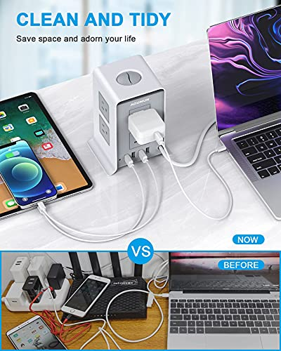 Surge Protector Power Strip Tower, 10FT/3M Extension Cords, 8 AC Outlets & 4 USB Ports, Overload Protection, Short Circuit Protection, Surge Protector with USB Ports for Home, Office, School.