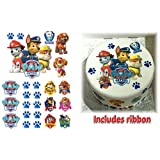 **PRECUT ICING** PAW PATROL Cake Decoration Set + Ribbon EASY PEEL & ATTACH PHOTO 3 SHOWS RIBBON AS STYLE HAS CHANGED