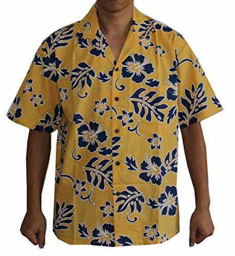 Made in Hawaii! Men's Hibiscus Flower Classic Hawaiian Shirt Collection (M, - Collection Shirt Mens