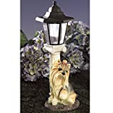 Bits and Pieces - Solar Yorkie Lantern - Solar Powered Garden Lantern - Resin Dog Sculpture With LED Light