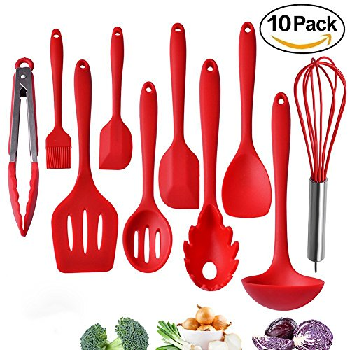 Tom's Kitchen Silicone Kitchen Utensils Set, 10 pcs Cooking & Baking Tool Sets Non-toxic Hygienic Safety Heat Resistant with Tongs, Whisk, Brush, Ladle, Spatula, Slotted Spoon, Spoonula (Tools Spoonula Set)