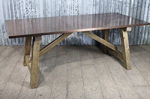 copper top dining table industrial look kitchen table with studwork 24m table