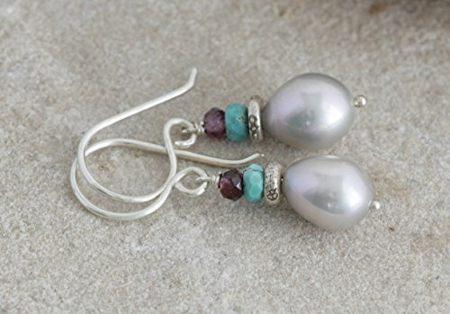 Hill Tribe Silver Dangle - Moonglow Pearl GARNET Turquoise Sterling Hill Tribe Silver Dangle Artisan Earrings // Natural Gems // luluglitterbug