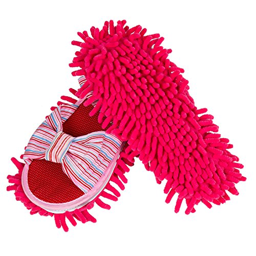 - LEMNUY Dust Mop Slippers for Women, Microfiber Chenille Woman Shoes Covers Washable, House Kitchen Hardwood Floor Multi Surface Polishing Cleaning Dirt and Hair, Pink, Large Size 8.0-11.0, 1 Pair