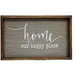 Parisloft Home Our Happy Place Wood Wall Framed Sign Natural Wood Wall Decor 19.5x11.5inches