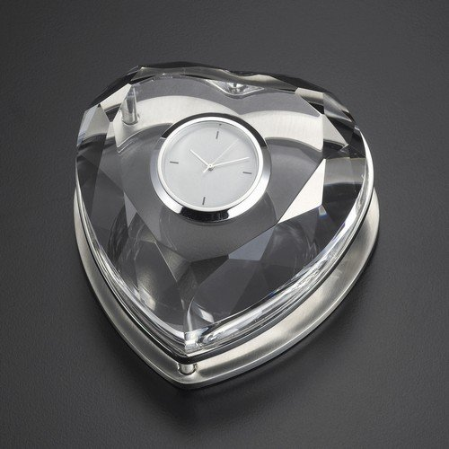 Crystal Heart Shape Desk Clock Computers, Electronics, Office Supplies, Computing