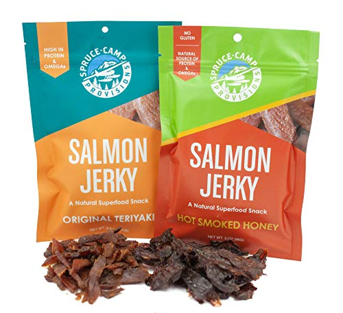 Salmon Jerky Variety Pack - Hot Smoked Honey Jerky & Teriyaki Jerky (1 Each) Salmon Snacks, Variety Fish Jerky w/ Omega 3,6,9 - Alaskan and Canadian Salmon Smoked Jerky | Sweet & Savory (3oz & 2.5oz) (Honey Fish Smoked)