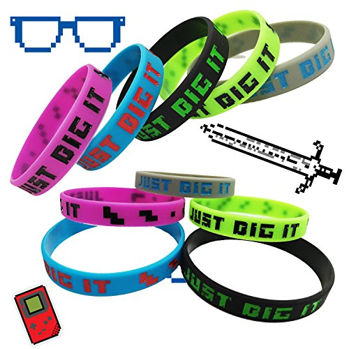 Crush Retro Pixelated Party Favor Miner Silicone Wristband 8-Bit Bracelets 15-Pack