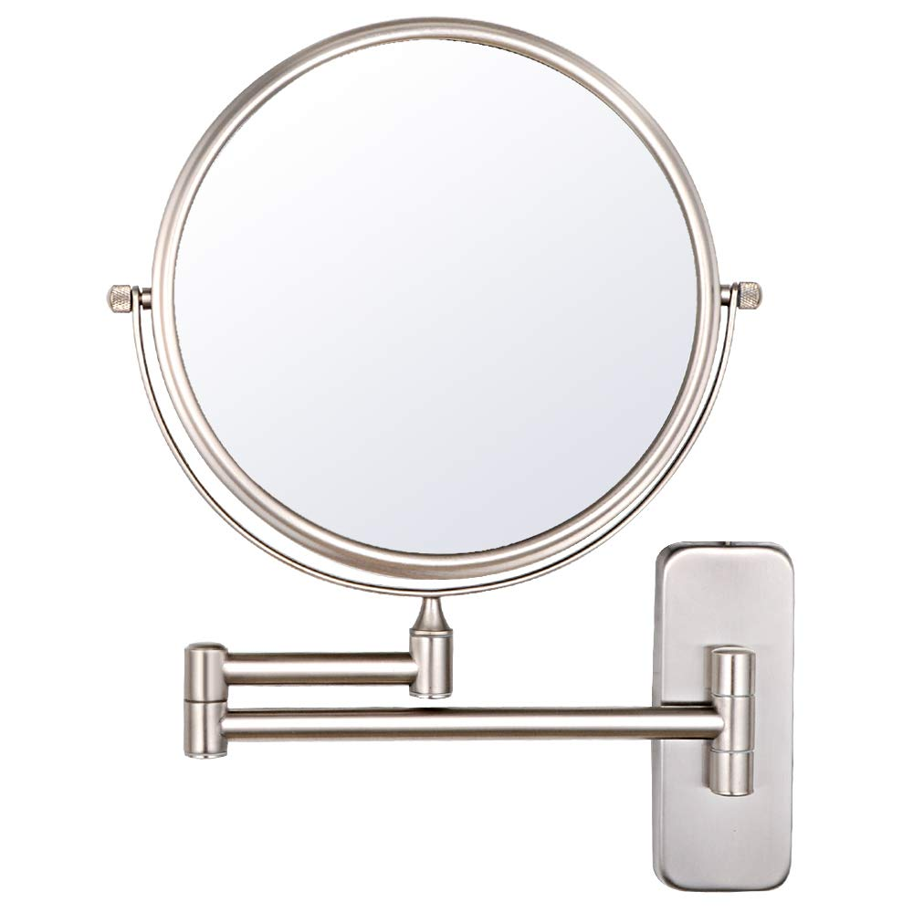 NiceVue Wall Magnifying Mirror Shaving Bathroom Mirror Folding Double Wall Mount Mirror with 10x Magnification,8 Inch Mountable, Nickel Finished