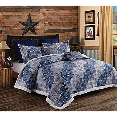 Virah Bella Lodge Montana Cabin Printed Quilt Set with Sherpa Backing (Blue/Gray, King)