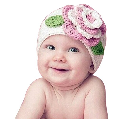 - OrangeTag Warm Beanie Knit Hat Cute Big Flower Baby Kids Infant Toddler Girl (White)