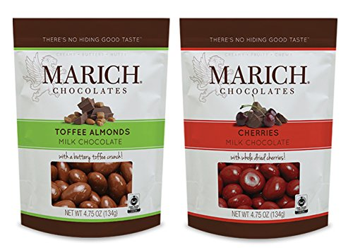 Marich Chocolates Duo Toffee Almonds and Cherries Milk Chocolate 2 X 4.75 Oz (Pack of - Marich Toffee