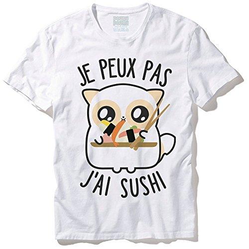 """T-Shirt Mixte Pouny Pouny """"Je peux pas j'ai sushi"""" chibi et kawaii - Made in France - Licence officielle Pouny Pouny - Chamalow shop"""