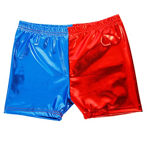 Maboobie Girls Kids Harley Quinn Shorts Suicide Squad Harlequin Shiny Hot Pants Metallic (M (9-10 Years))