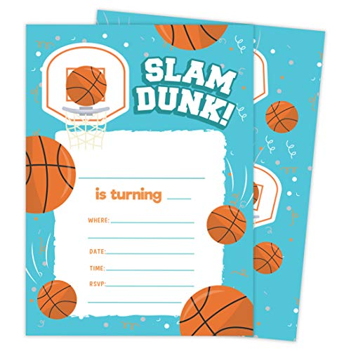Girl Envelope Seals - Basketball 1 Happy Birthday Invitations Invite Cards (25 Count) With Envelopes and Seal Stickers Vinyl Girls Boys Kids Party (25ct)