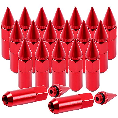 SCITOO 20PCS Red Spiked Lug Nuts for 3/4 Socket Key Drive Close End, 60mmTall, 12x1.5 Thread, Fits for Acura/BMW/Honda/Toyota 1994-2010