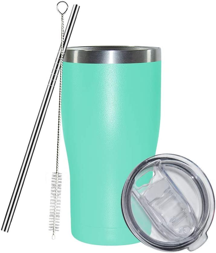 30 oz Stainless Steel Coffee Tumbler Set, AGH Reusable Insulated Travel Mug with Lid and Straw, Double Wall Slim Water Cup for Iced Hot Drinks, Beverages, Easy to Hold and Clean (Mint)