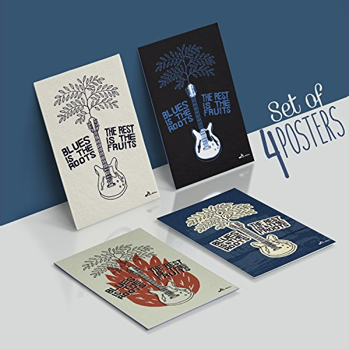 Made With Tone, Limited Edition: BLUES Festival Band Posters, Set Of Four 11X17 Vintage Music and Old School Guitar Poster of 1MM Thick, Rockfest Wall art for Musicians and Decor!