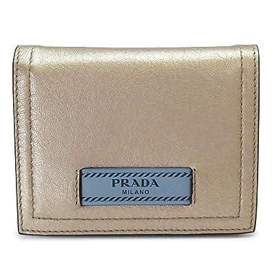 b0c9c4bba437 Amazon | [プラダ] 折財布 レディース エティケット レザー ゴールド×ライトブルー系 1MV204 2BMU F0XD5/GLACE  CALF+CITY QUARZO M/ASTRALE [並行輸入品] | 財布
