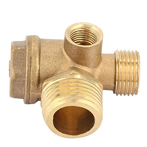 FTVOGUE Thread 3-Way Air Compressor Valve Male Threaded Non-Return Check Valve Spare Parts Tube Connector Tool 3 Port Brass