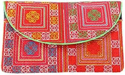 Amazon.com: thongdee Hilltribe tela cartera bordado y ...
