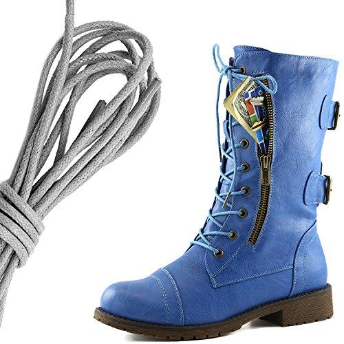 Dailyshoes Femmes Lace Militaire Boucle Boucle Bottes De Combat Mi Genou Haute Carte De Crédit Exclusive Poche, Gris Bleu Ciel