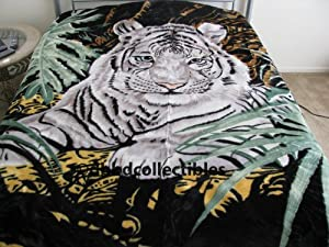 Amazon.com: King Size Plush Mink Blanket--White Tiger