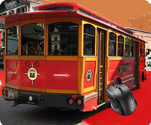 SHAQ Trolley Bus Digitally Enhanced Photo Mouse Pad 8.6 X 7.1 in