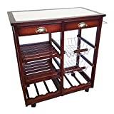 NEW White Oaken Wood Granite Kitchen Trolley Bar Cart Cherry