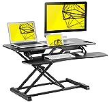 "Standing Desk Height Adjustable Sit/ Stand up Desk converter. 38""x 24"" Suitable for Dual Computer Monitor Setup, by Husky Desk. Black"