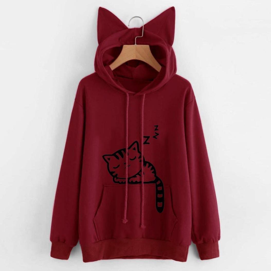 682bb2e48cf WuyiMC Womens Teen Girls Cute Cat Sweatshirt Crop Top Hoodies Long Sleeve  Pullover: Amazon.ca: Clothing & Accessories