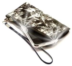 """""""Secreto"""" Negro, Lujosa billetera acolchado con cierre, acabado brillante para BlackBerry Curve 8530. Auténtica Funda / Estuche con correa para transportar para teléfonos móviles."""