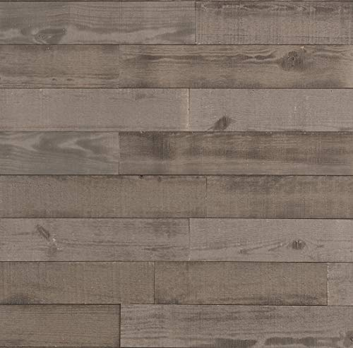 Timberwall - Barnwood Collection - Driftwood Grey - Wood Wall Paneling - Solid Wood Planks - DIY Easy Peel and Stick Application - 9.5 Sq Ft
