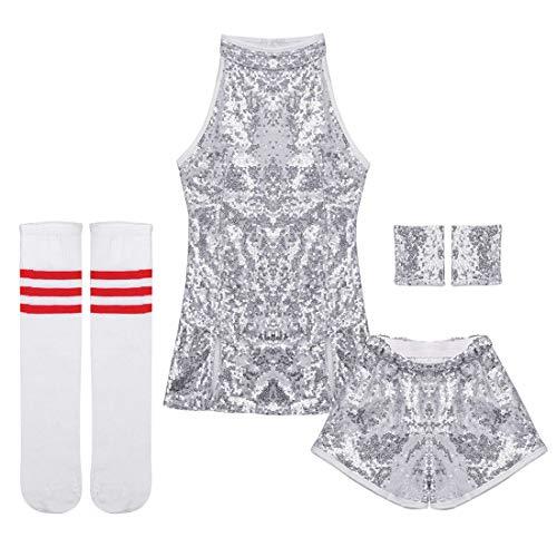ranrann Kids Girls Sparkle Mini Dress Sequins Jazz Dance Costume Hip Hop Street Dance Skirt Silver 5-6 ()