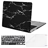 MOSISO Plastic Pattern Hard Case Shell with Keyboard Cover with Screen Protector Compatible MacBook Air 13 inch (Model: A1369 and A1466), Black Marble