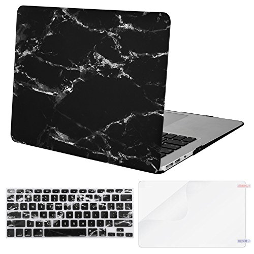 Mosiso Plastic Pattern Hard Case Shell with Keyboard Cover with Screen Protector for MacBook Air 13 inch (Model: A1369 and A1466), Black Marble (Marble Black)