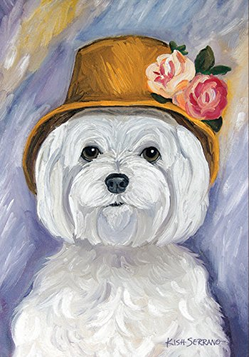 Toland Home Garden Ruffoir Maltese 12.5 x 18 Inch Decorative Puppy Dog Portrait Garden (Maltese Garden)
