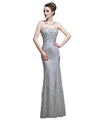 Mermaid Prom Dress Grey Evening Gown