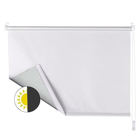 OBdeco Verdunkelungsrollo 60×160cm Weiß Thermorollo ohne Bohren Silberbeschichtung Sichtschutz Sonnenschutz Klemmfix für Fens