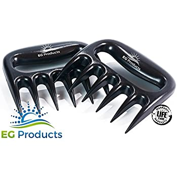 Bear Claw Meat Shredders by EG Products, TOUGHEST BBQ MEAT FORKS, Pulled Pork Meat Shredder, Dishwasher Safe, BBQ Tool, BPA FREE Set of 2.
