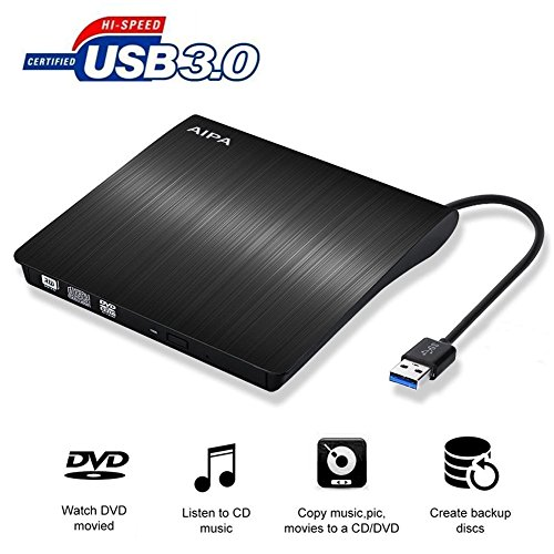 External CD Drive Lastest USB 3.0 Slim Portable External DVD CD/DVD-RW Rewriter Burner Drive for Laptop Notebook PC Desktop Computer Support Windows/ Vista/7/8.1/10, Mac OSX by ACTRINIC