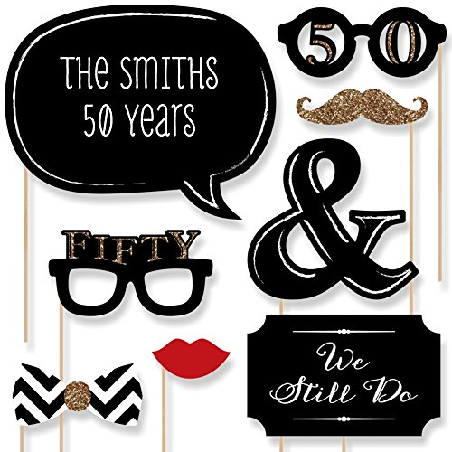 Big Dot of Happiness Custom 50th Anniversary Photo Booth Props - Personalized 50th Anniversary Decorations - Golden Wedding Anniversary Party Supplies - 20 Selfie Props