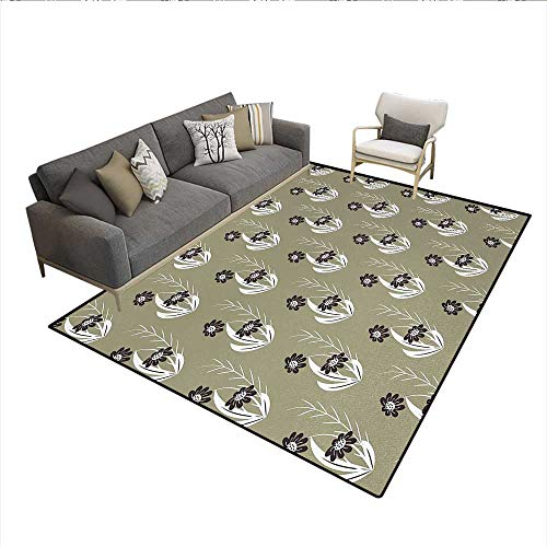 Rug,Artistic Flowers Tiny Branches Leaves Dotted Blooms Pattern Garden Theme,Floor Mat for Kids,Khaki Dark Brown CreamSize:6'6