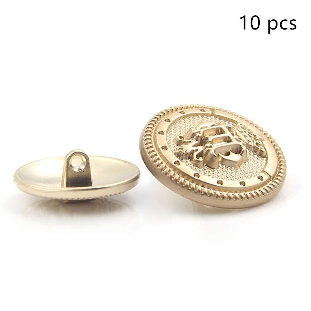 Lvcky - 10 Botones de Metal Dorado para Chaqueta de Corona británica, Botones Decorativos: Amazon.es: Hogar