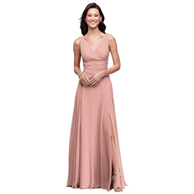 5311917198 David s Bridal Surplice Tank Long Chiffon Bridesmaid Dress Style F19831
