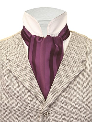 Purple Satin Stripe - Historical Emporium Men's Satin Tonal Stripe Ascot Purple