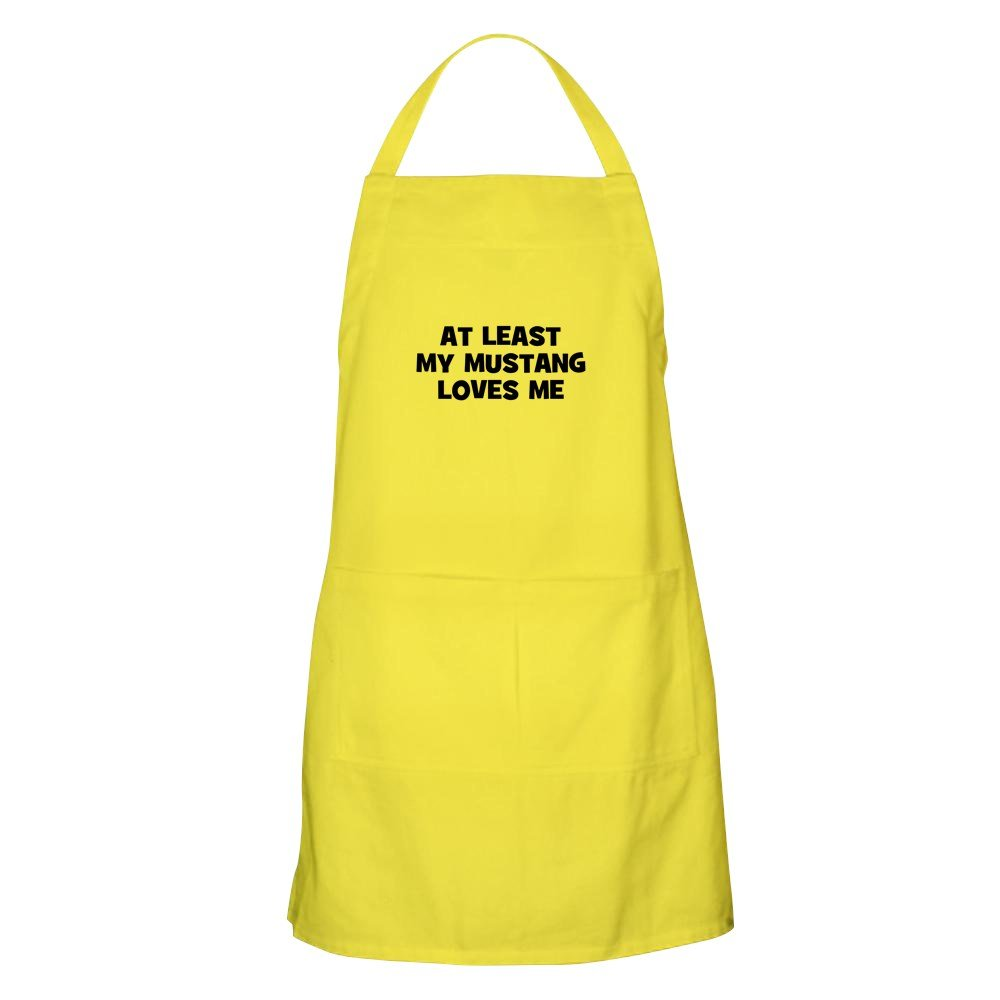 CafePress - At Least My Mustang Loves Me BBQ Apron - Kitchen Apron with Pockets, Grilling Apron, Baking Apron