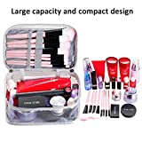 Clear Travel Make-up Organizer Bag for Women, Small Plastic Cosmetic Toiletry Storage Case with Brush Holder Slots, Carry Handle, Mini Black Zipper Mesh Pouch, Portable Waterproof PVC Box, Marble