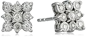 Sterling Silver Miracle Set Diamond Floral Cluster Stud Earrings (1/5cttw, J-K Color, I2-I3 Clarity)