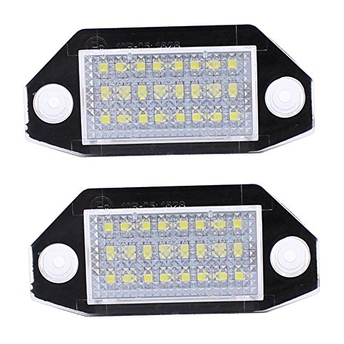 Keyecu 2 Pieces 6500K White 24-LED License Plate Lights For Ford Mondeo MK3 4/5D 2000-2007